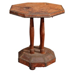french leather and nailhead side table