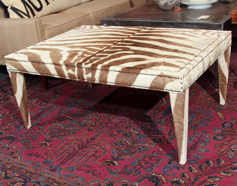 beautiful brown vintage zebra table trimmed in nailhead