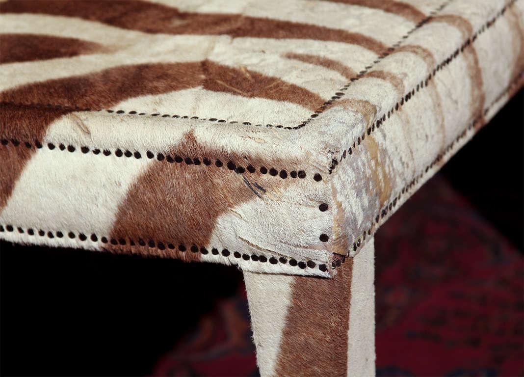 20th Century custom coffee/cocktail table upholstered in vintage zebra hide
