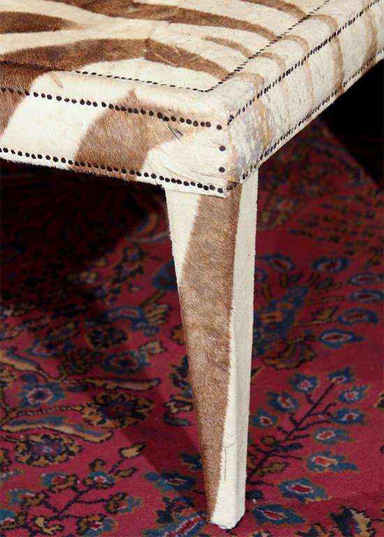 Hide custom coffee/cocktail table upholstered in vintage zebra hide