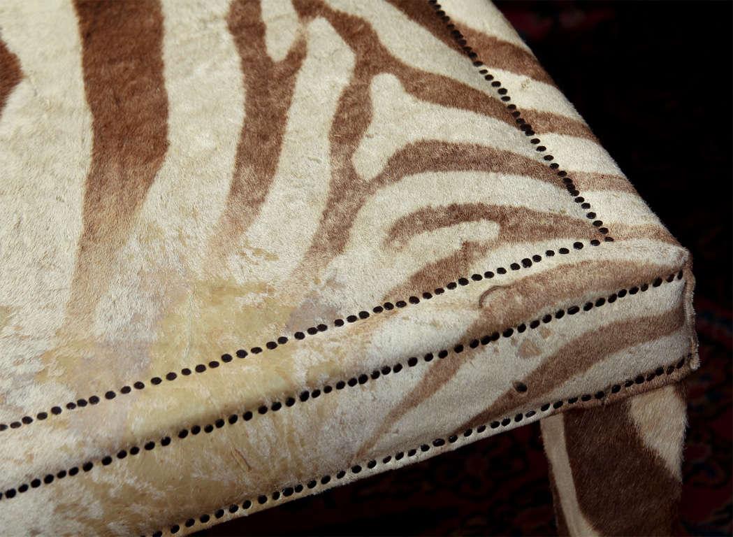 custom coffee/cocktail table upholstered in vintage zebra hide 6