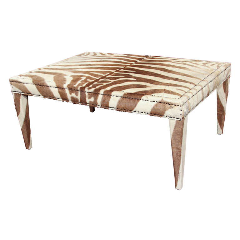 Custom Coffee Cocktail Table Upholstered In Vintage Zebra Hide For