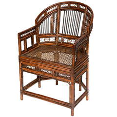 A Fine Chinese Export Bent Bamboo Armchair