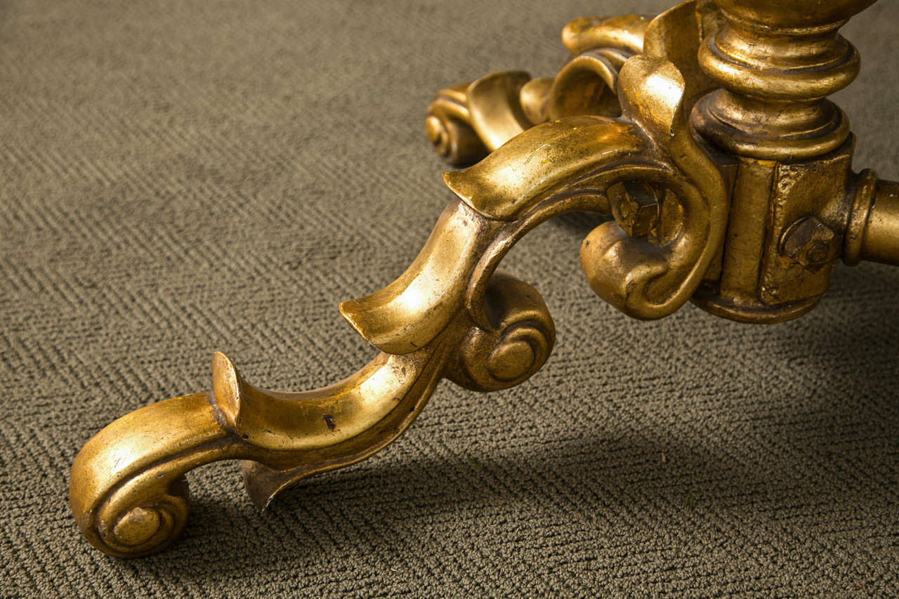 Gilded Bronze Base Marble Top Table In Good Condition For Sale In Mt Kisco, NY