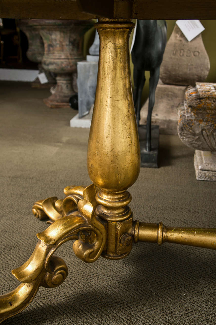 20th Century Gilded Bronze Base Marble Top Table For Sale