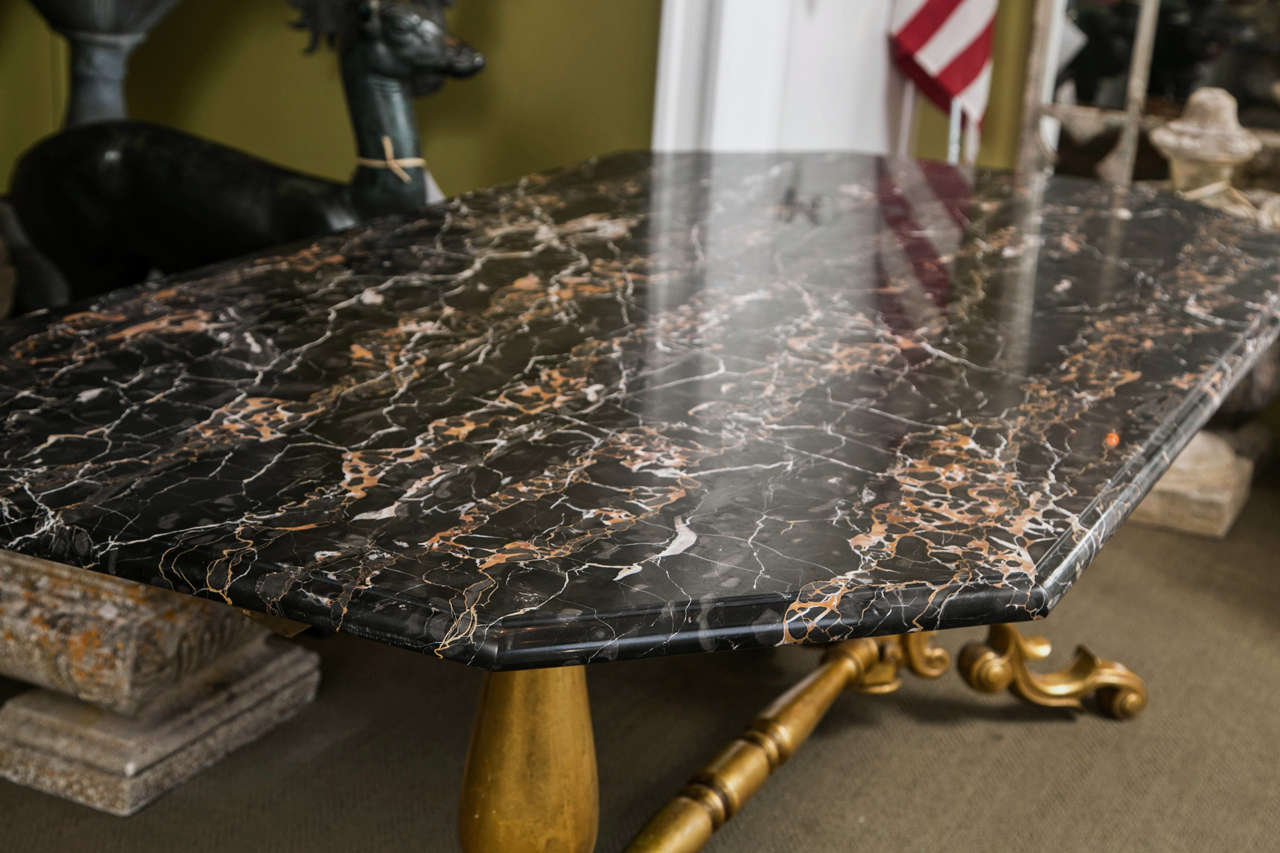 Gilded Bronze Base Marble Top Table For Sale 2