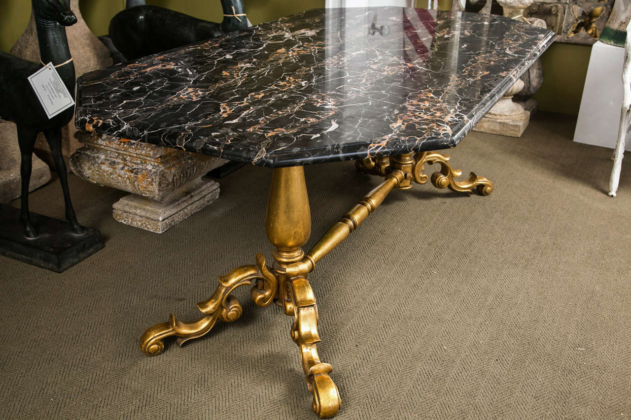 Gilded Bronze Base Marble Top Table For Sale 3