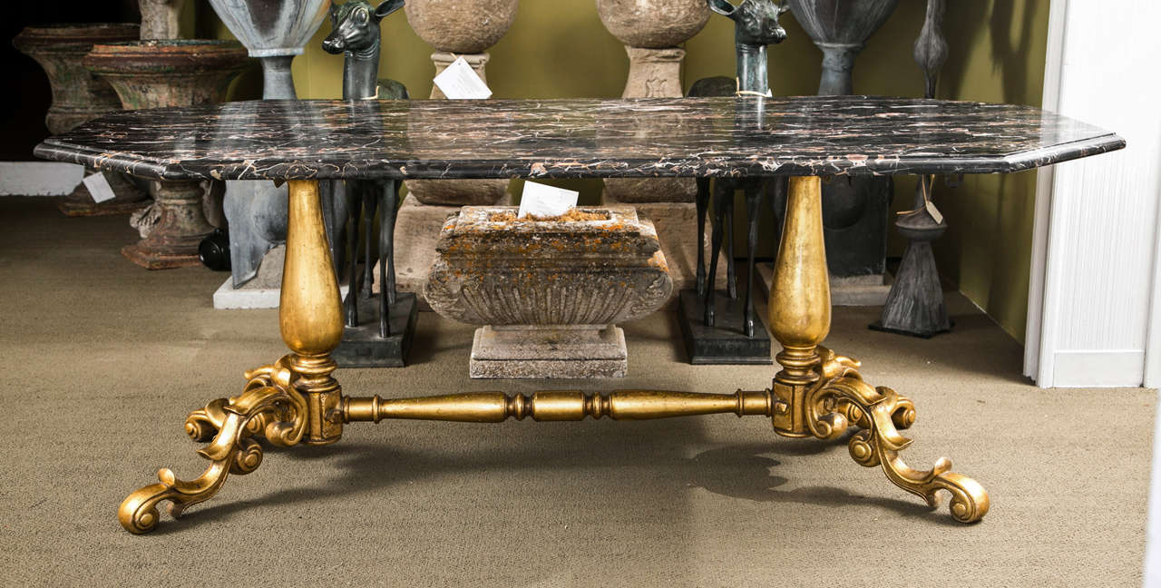 Gilded Bronze Base Marble Top Table For Sale 4