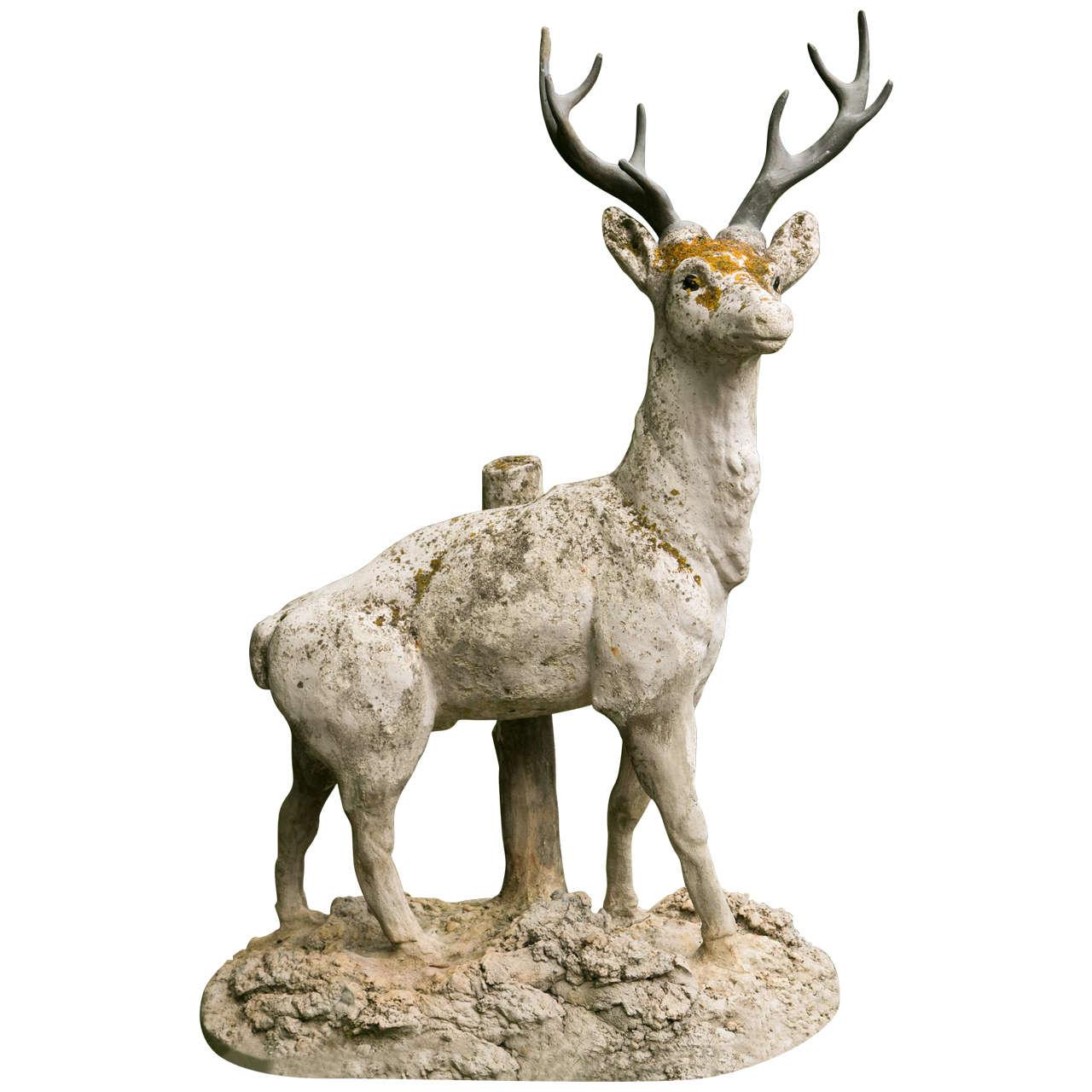 Standing Cement Deer