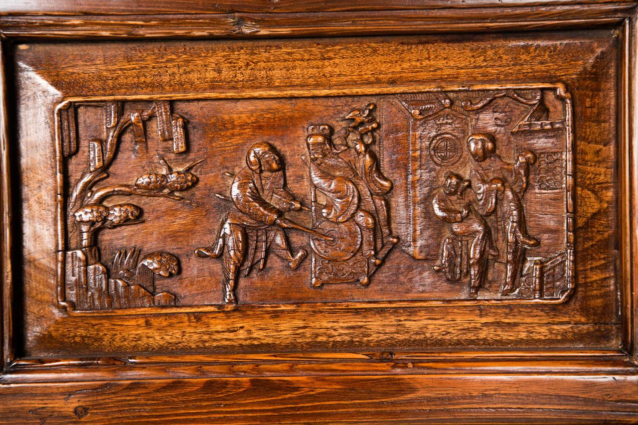 Pair Chinese Hardwood   Carved Panels 2