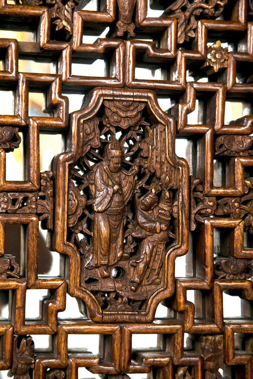 Pair Chinese Hardwood   Carved Panels 4