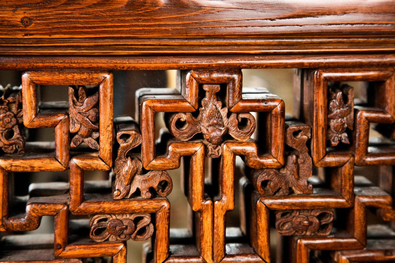 Pair Chinese Hardwood   Carved Panels 5