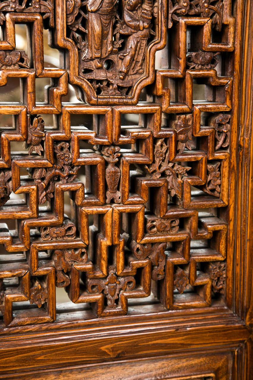 Pair Chinese Hardwood   Carved Panels 6