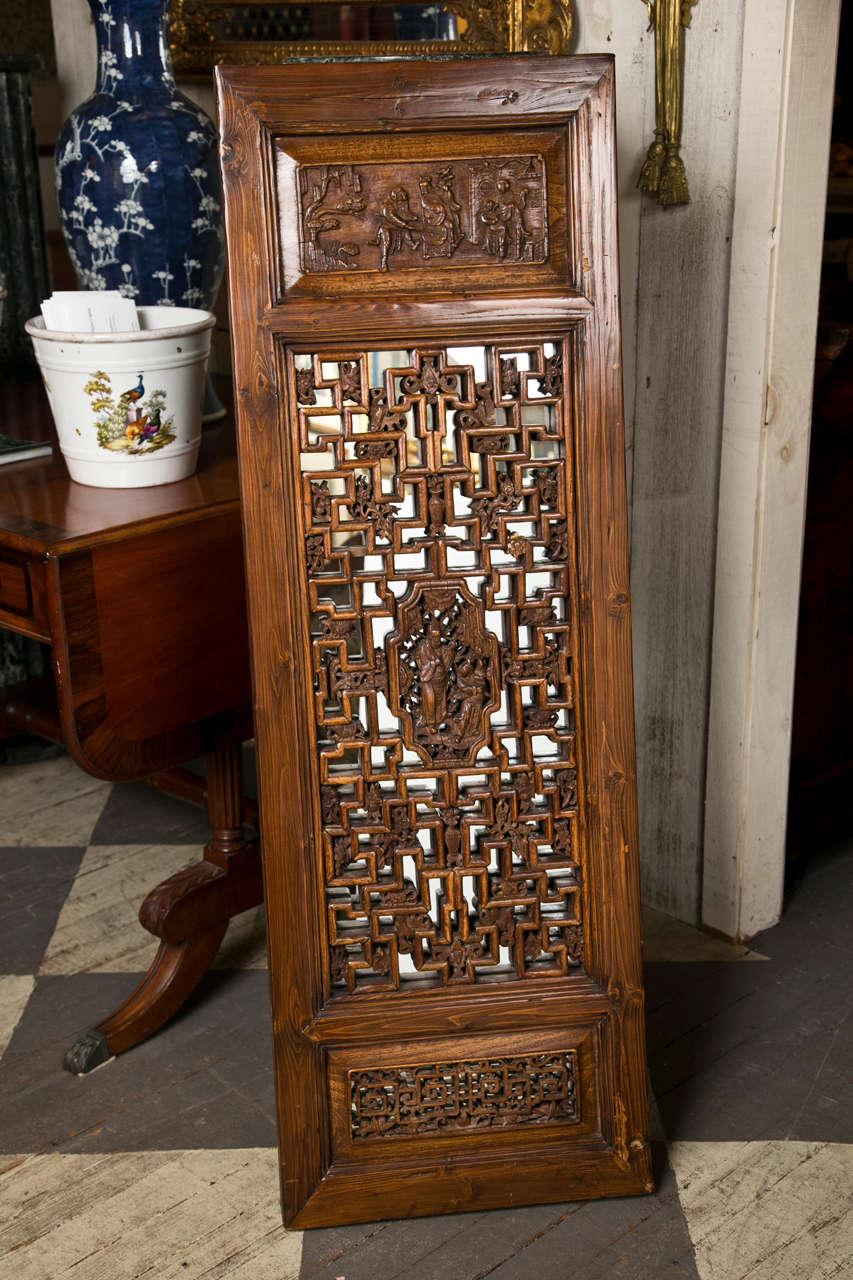 Pair Chinese Hardwood   Carved Panels 9