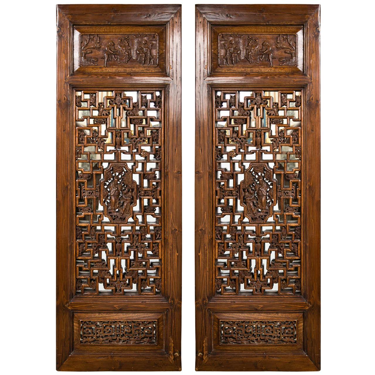 Pair Chinese Hardwood   Carved Panels 1