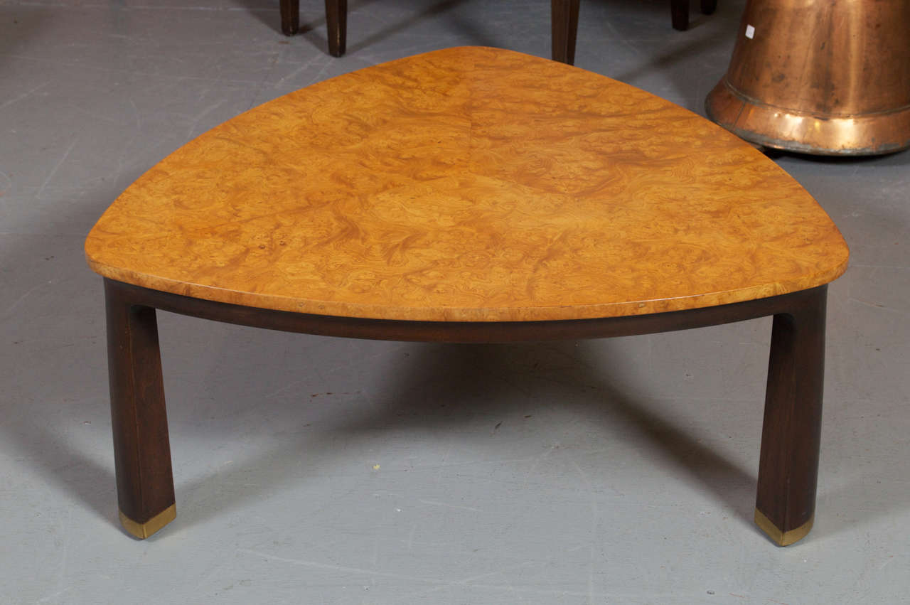 Triangular Burl Coffee Table By Edward Wormley For Dunbar At 1stdibs