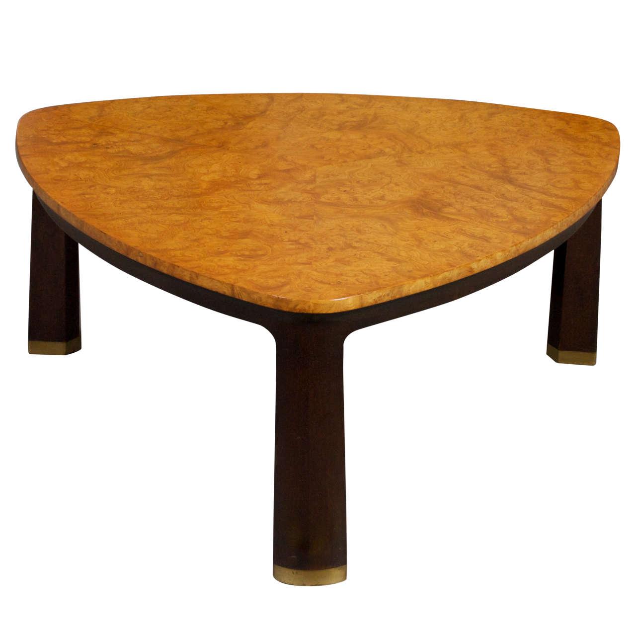 Triangular Burl Coffee Table By Edward Wormley For Dunbar
