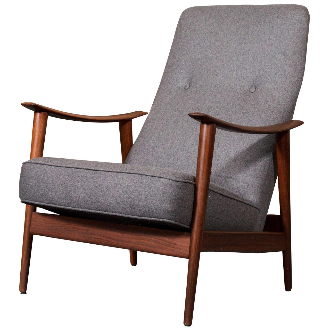 1960u0027s Scandinavian Teak Rocking Lounge Chair In Gray Wool At 1stdibs