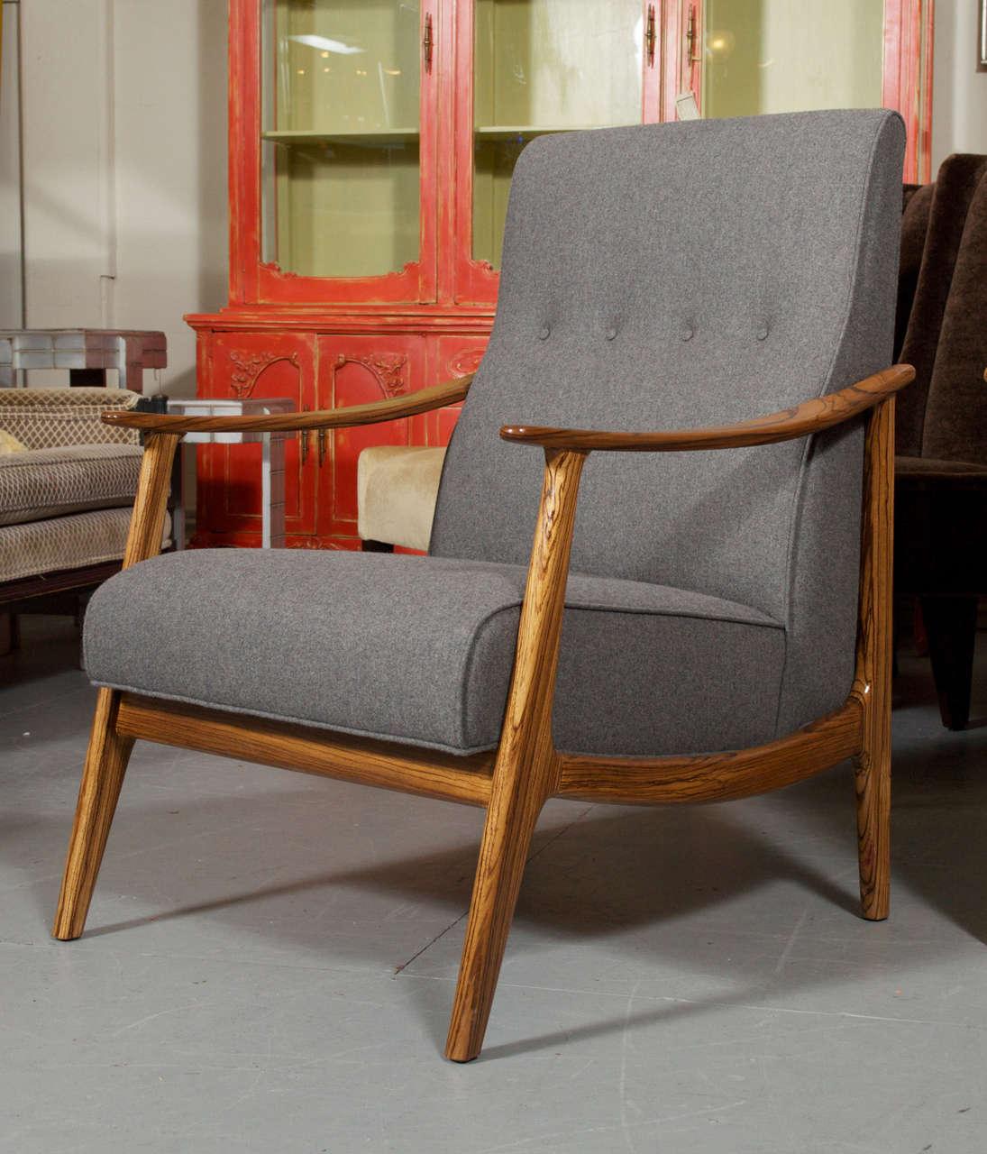 Scandinavian Danish Style Custom Zebra Wood Framed Lounge ...
