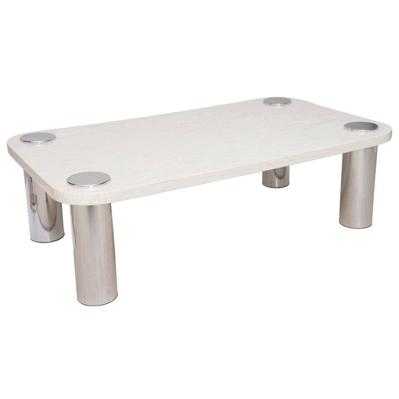 Chic Bone And Polished Stainless Steel Coffee Table At 1stdibs