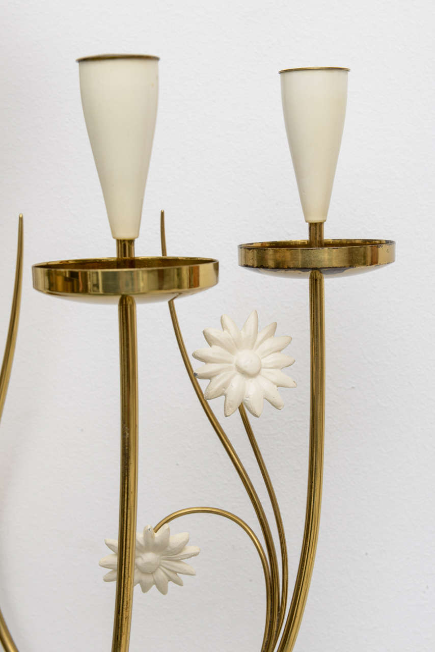 Mid-20th Century Large-Scale 50's Italian Brass Candle Sconce For Sale