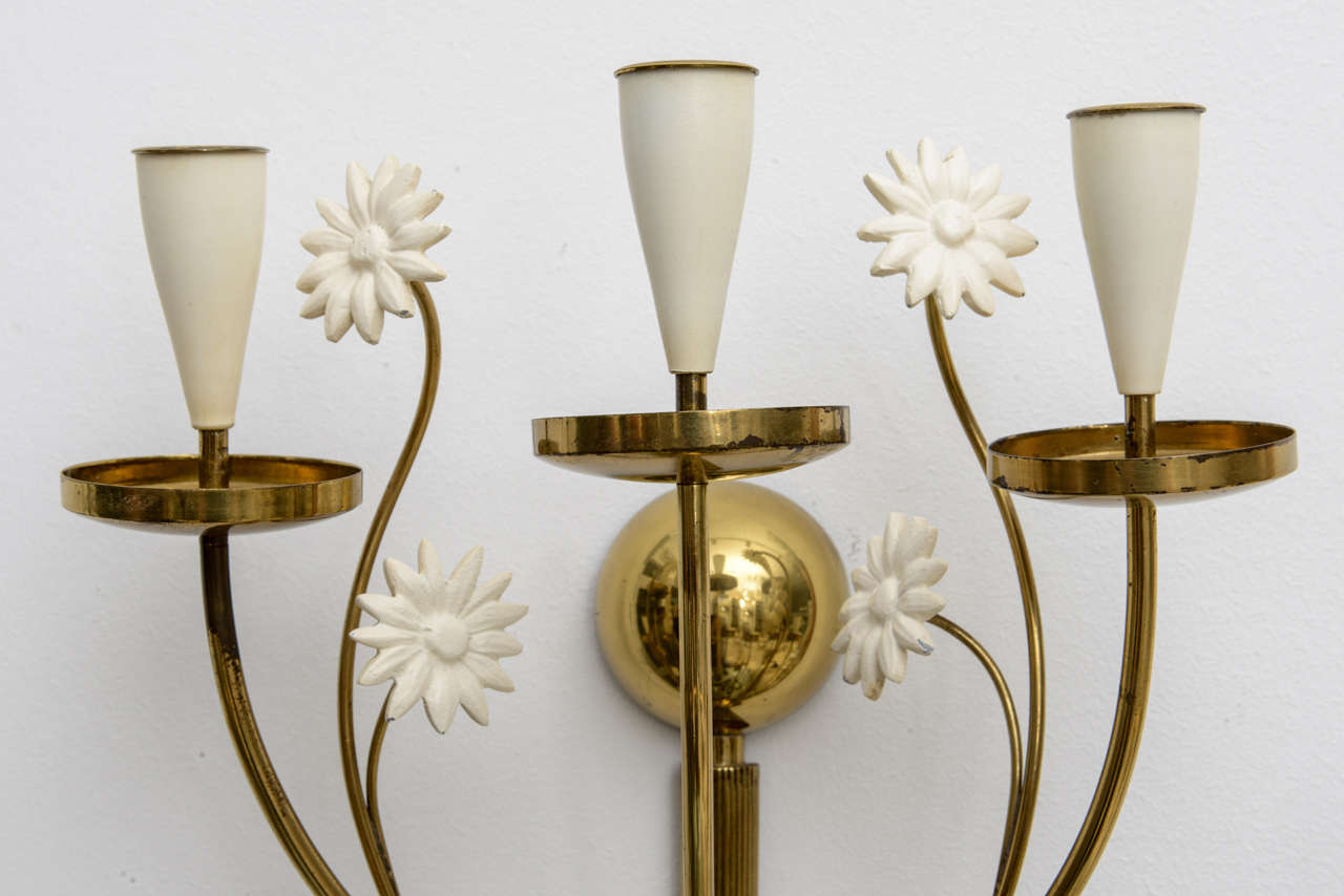 Paint Large-Scale 50's Italian Brass Candle Sconce For Sale