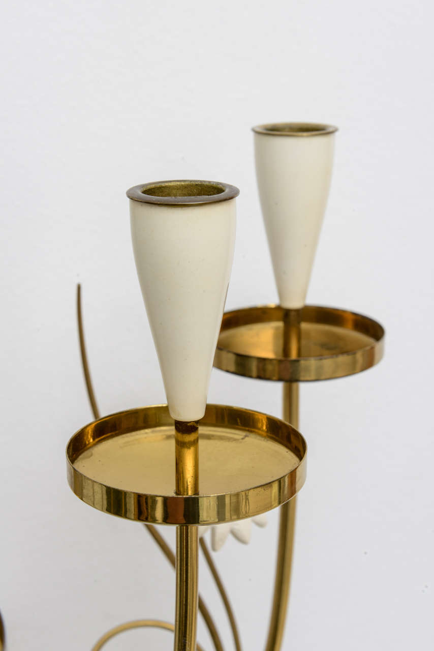 Italian Candle Wall Sconces : Large-Scale 50 s Italian Brass Candle Sconce For Sale at 1stdibs