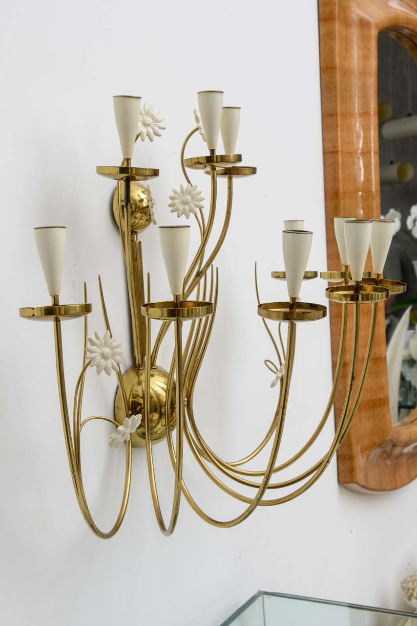 Large-Scale 50's Italian Brass Candle Sconce For Sale 3
