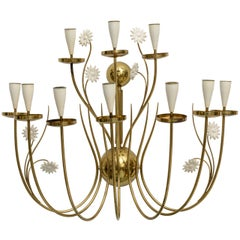 Large-Scale 50's Italian Brass Candle Sconce