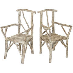 Pair of Rustic White-Washed Hickory Lodge Chairs