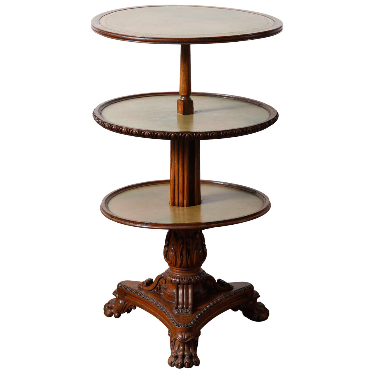 Three circular tier oak dumb waiter at stdibs