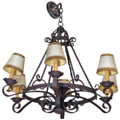ON SALE Chandelier Early 1900s French iron chandelier, rewired.