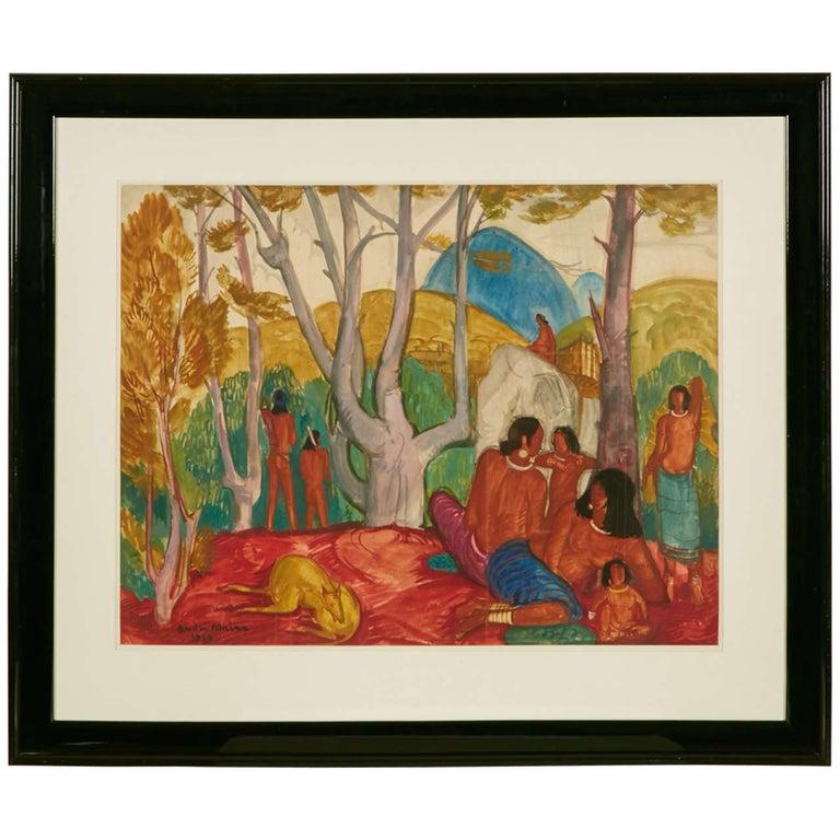 """""""Aprés-Midi Chez Les MöIs,"""" Watercolor by André Maire, circa 1949"""