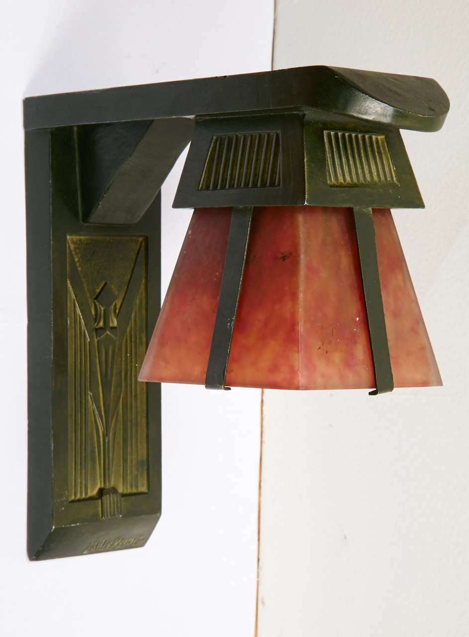 Early 20th Century French Art Deco Sconces Signed by Max Le Verrier, circa 1920-1930 For Sale