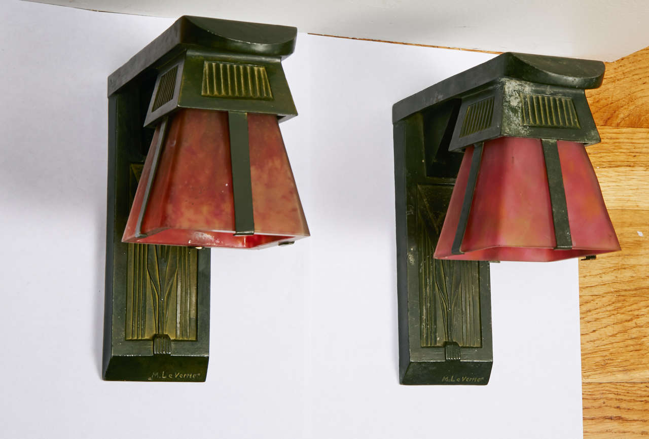 French Art Deco Sconces Signed by Max Le Verrier, circa 1920-1930 For Sale 2