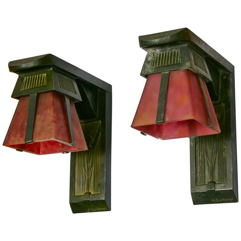 French Art Deco Sconces Signed by Max Le Verrier, circa 1920-1930 For Sale