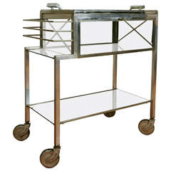 Mordernist Dry Bar on Wheels by Jacques Adnet