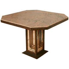 French Pink Marble and Wrought Iron Art Deco Table, circa 1925