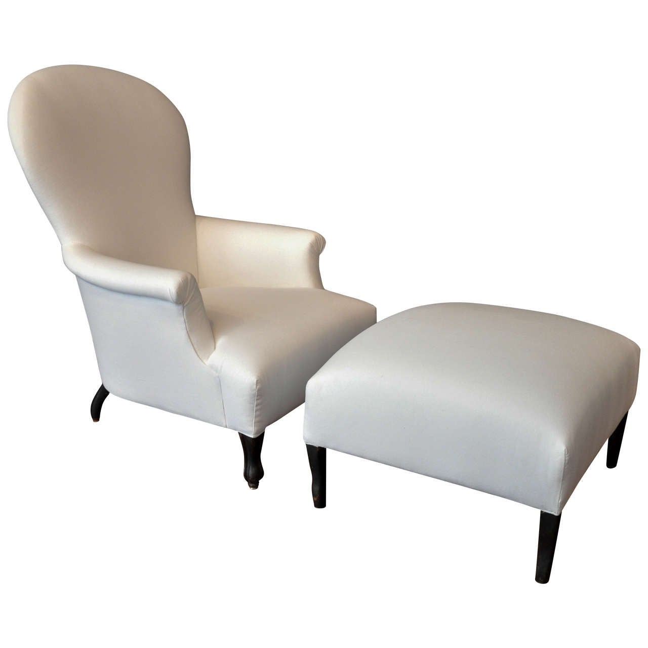 Funky french chaise lounge chair and ottoman at 1stdibs for Chaise and ottoman