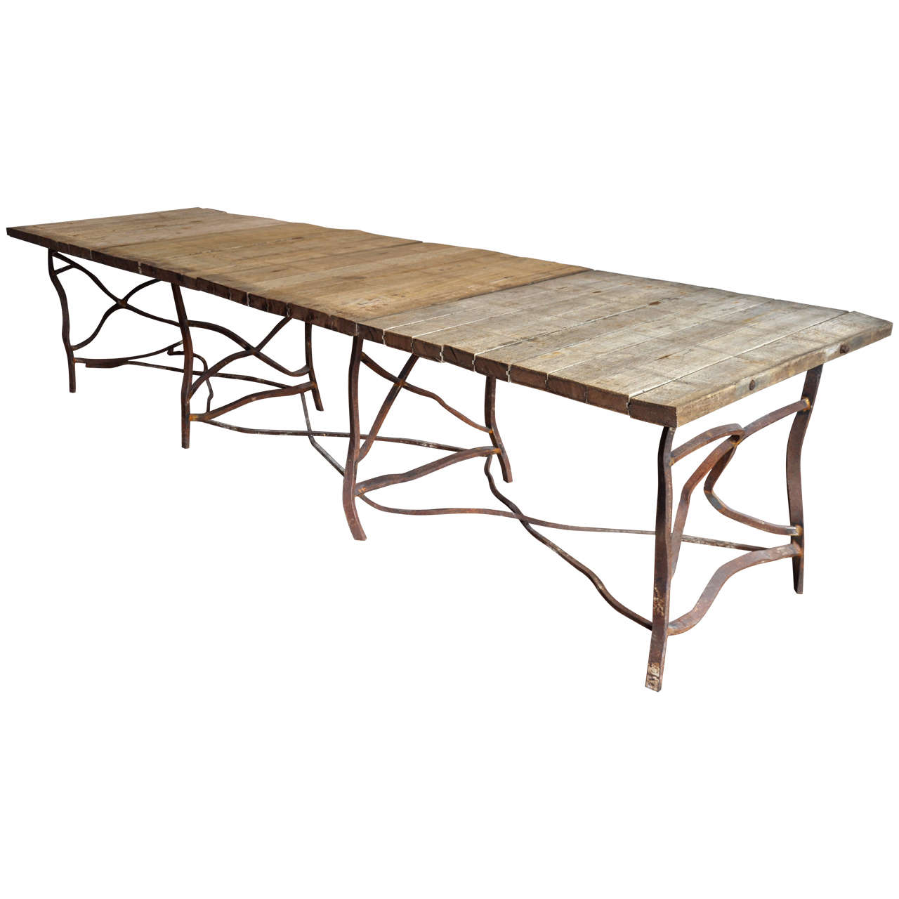 Extra long rusty base french table at 1stdibs for Long dining table