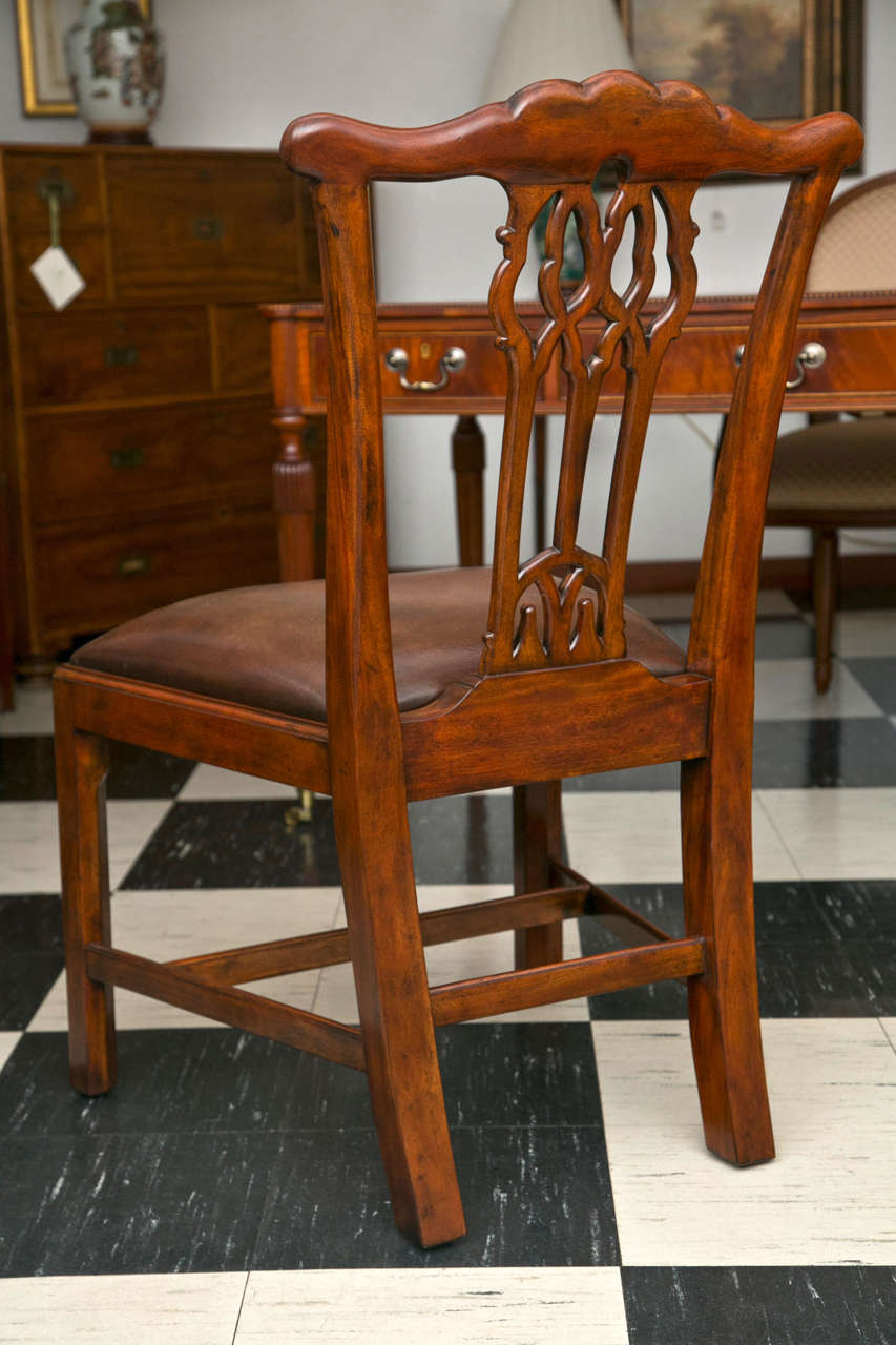 Set of Ten Chippendale Style Dining Chairs In Excellent Condition For Sale In Woodbury, CT