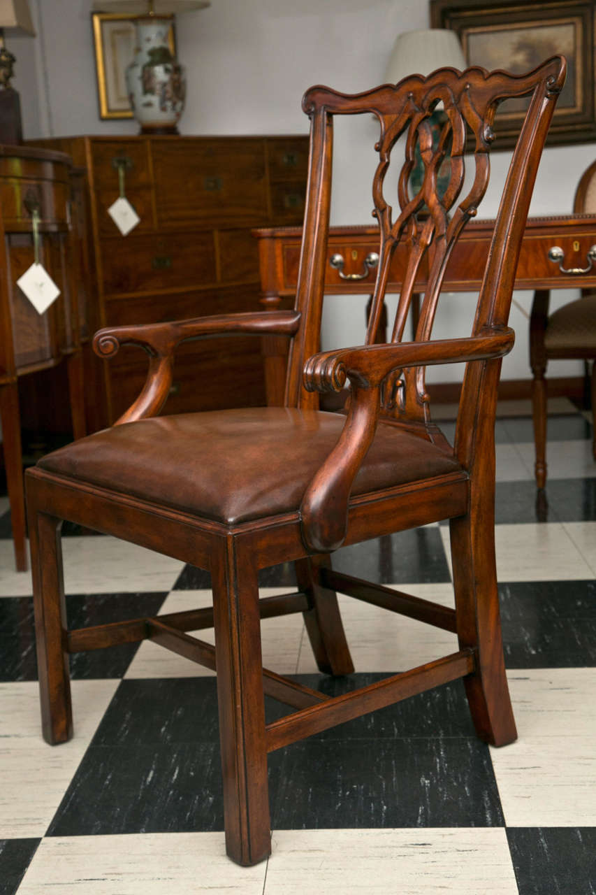 Contemporary Set of Ten Chippendale Style Dining Chairs For Sale