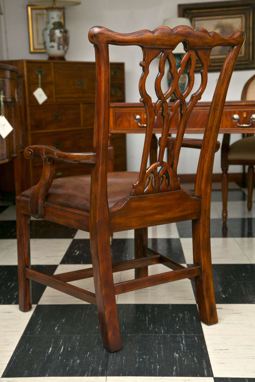 Set of Ten Chippendale Style Dining Chairs For Sale 4