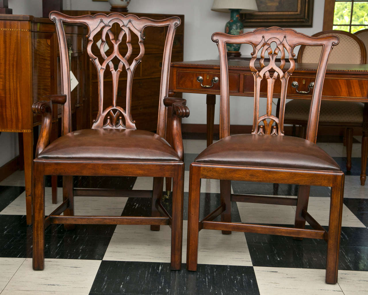 Set of Ten Chippendale Style Dining Chairs For Sale 5