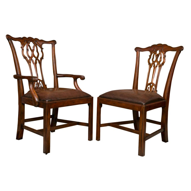 Set of Ten Chippendale Style Dining Chairs For Sale