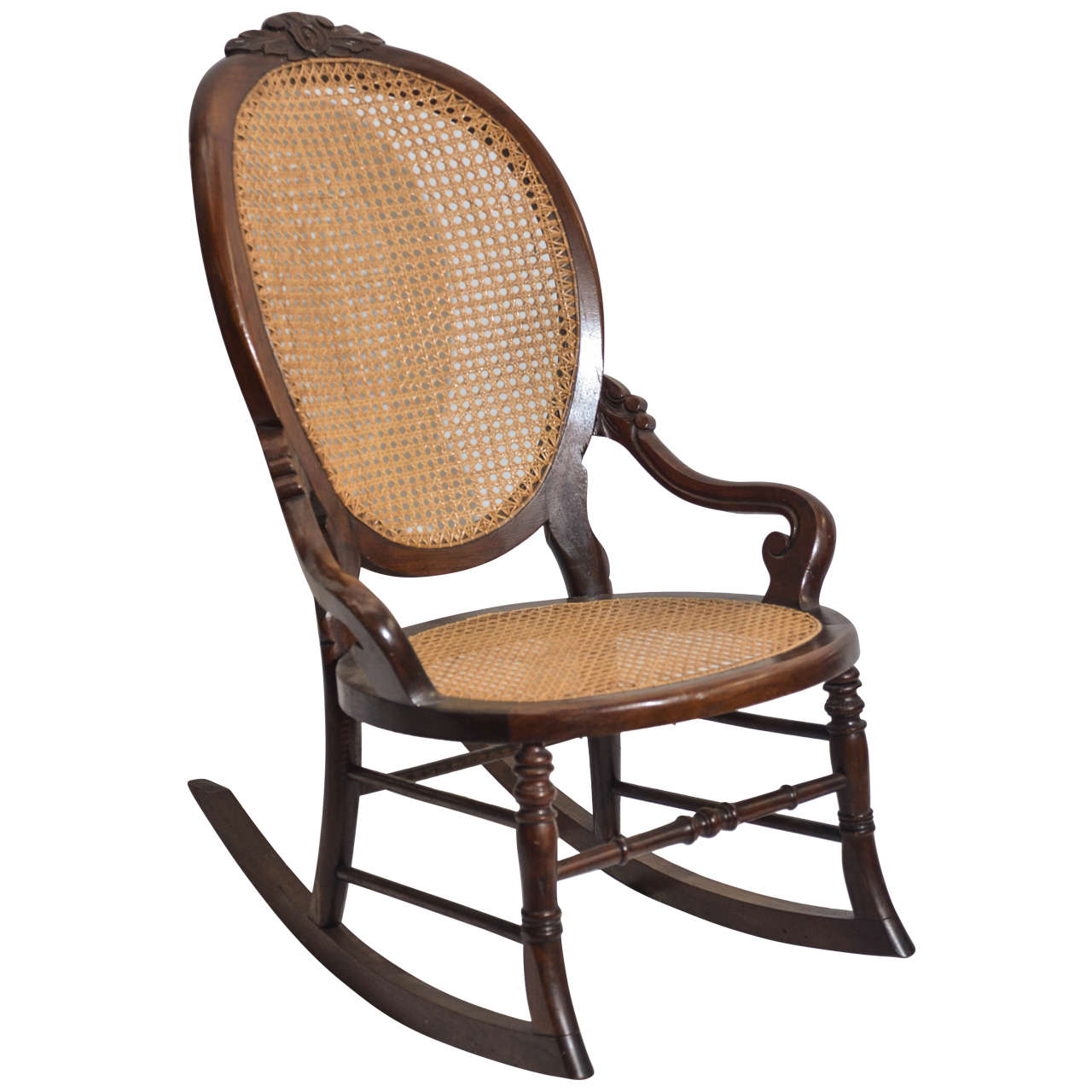 Antique cane rocking chairs - Victorian Walnut Lady S Rocking Chair