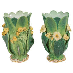 Pair of Small Green Minton Vases