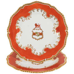 Set of 9 Chamberlain's Worcester and Tiffany Armorial Soup Dishes