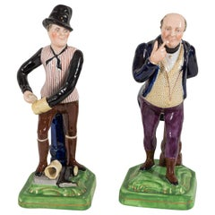 Staffordshire Figures Dickens' Mr Pickwick & Sam Weller the Bootblack circa 1840