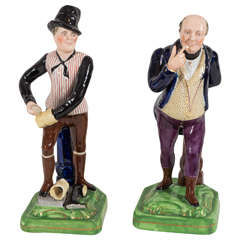 Staffordshire Dickens Figures Mr. Pickwick and Sam Weller, the Bootblack